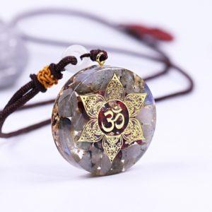 Labradorite Garnet Om Symbol Orgonite Pendant Necklace Side View 2