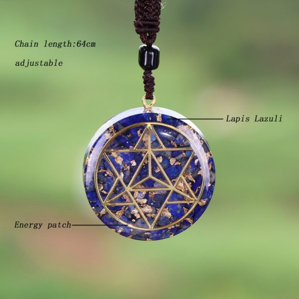 Lapis Lazuli Sacred Geometry Orgonite Pendant Necklace Contents Diagram