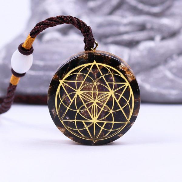 Obsidian Quartz Sacred Geometry Orgonite Pendant Necklace