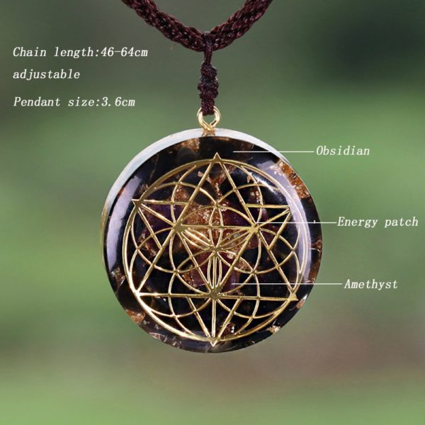 Obsidian Quartz Sacred Geometry Orgonite Pendant Necklace Diagram Contents