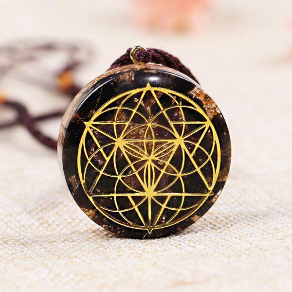 Obsidian Quartz Sacred Geometry Orgonite Pendant Necklace Front View