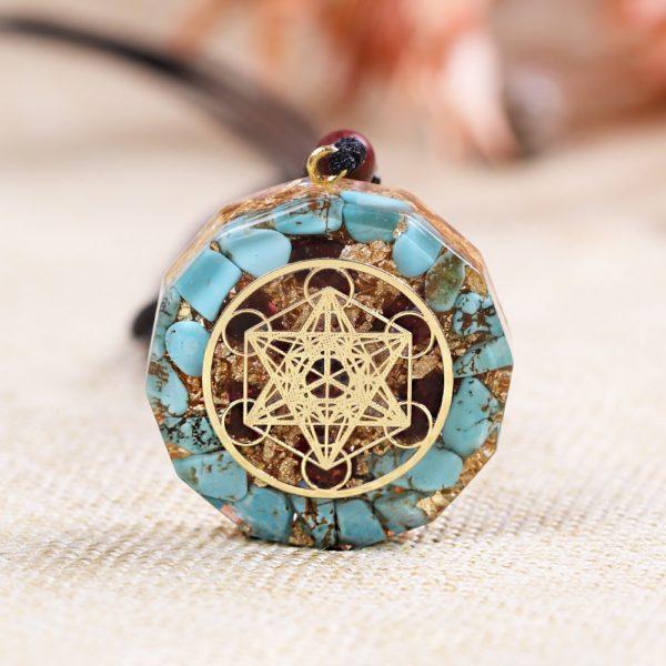 Turquoise Garnet Metatron's Cube Orgonite Pendant Necklace