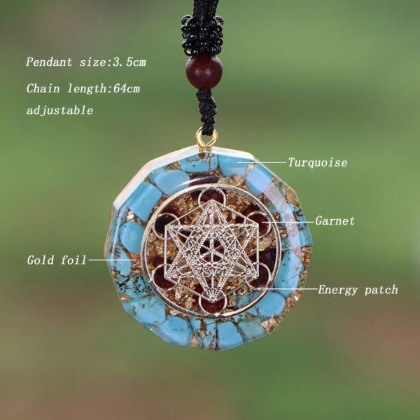 Turquoise Garnet Metatron's Cube Orgonite Pendant Necklace Diagram Contents