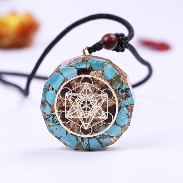 Turquoise Garnet Metatron's Cube Orgonite Pendant Necklace Front View