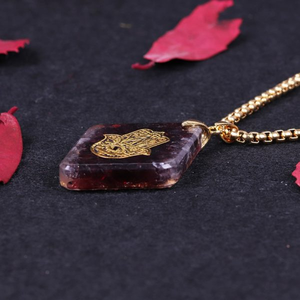 Garnet Hamsa Symbol Orgonite Geometric Pendant Necklace Side View