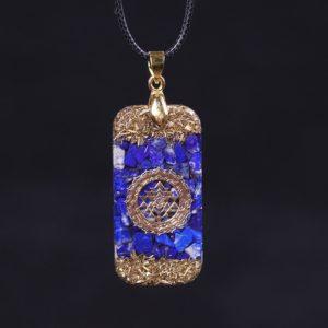 Lapis Lazuli Sri Yantra Orgonite Rectangular Pendant Necklace Front View