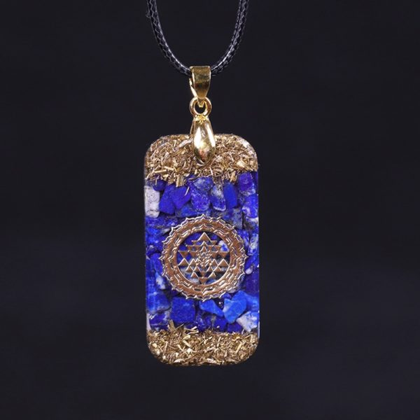 Lapis Lazuli Sri Yantra Orgonite Rectangular Pendant Necklace Front View