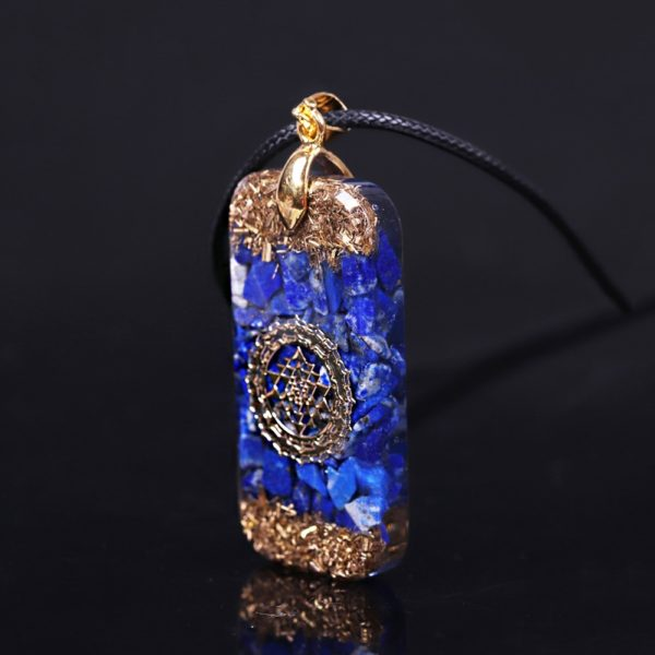 Lapis Lazuli Sri Yantra Orgonite Rectangular Pendant Necklace Side View