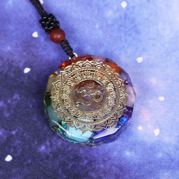 Om Symbol Chakra Healing Energy Orgonite Pendant Necklace Angle View