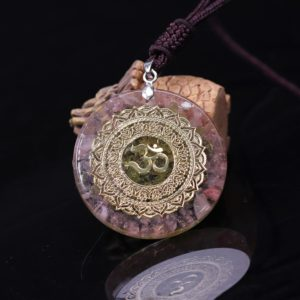 Om Symbol Rose Quartz Olivine Orgonite Pendant Necklace Angular View