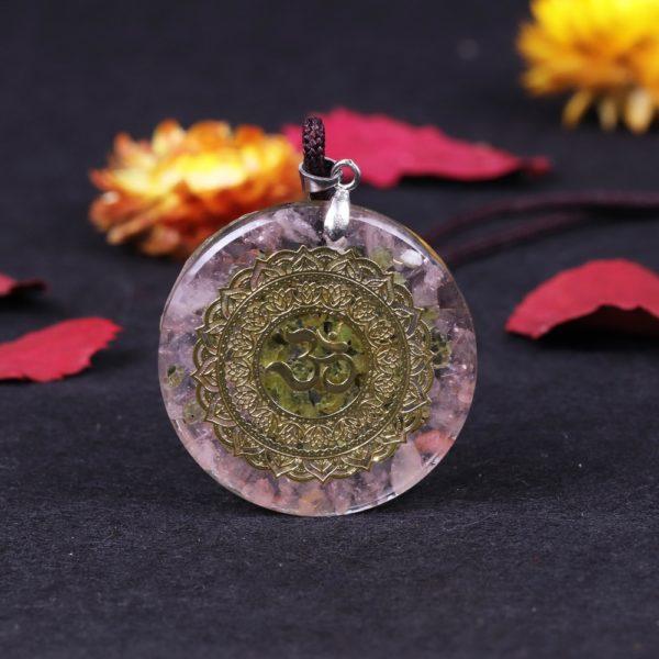 Om Symbol Rose Quartz Olivine Orgonite Pendant Necklace Front View 3