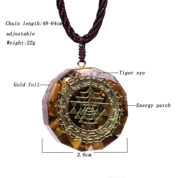 Sri Yantra Tiger's Eye Orgonite Pendant Necklace Front View Specifications Diagram