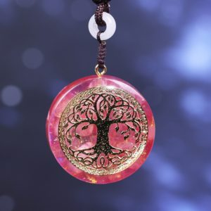 Tree Of Life Pink Crystal Healing Orgonite Pendant Necklace Front View 3
