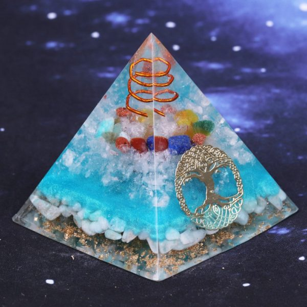 7 Chakra Orgone Pyramid With Amazonite Copper Coil And Golden Tree Of Life Symbol Angle View 2