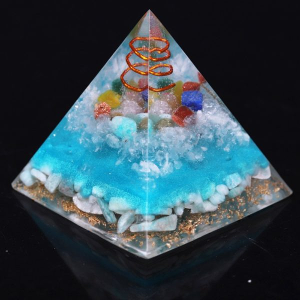 7 Chakra Orgone Pyramid With Amazonite Copper Coil And Golden Tree Of Life Symbol Angle View