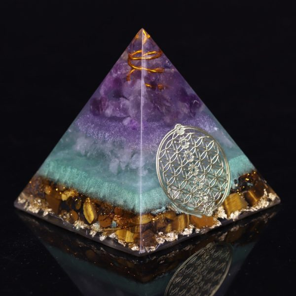 Amethyst Orgone Pyramid With Copper Coil And Flower Of Life Symbol Angle View