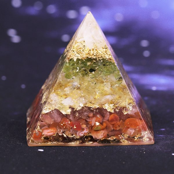 Citrine Orgone Pyramid With Red Agate Olivine And White Crystal Mix 1