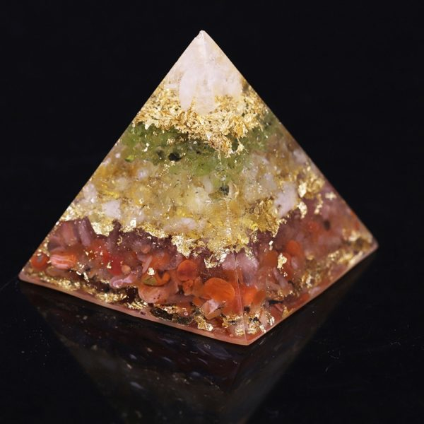 Citrine Orgone Pyramid With Red Agate Olivine And White Crystal Mix Rear View