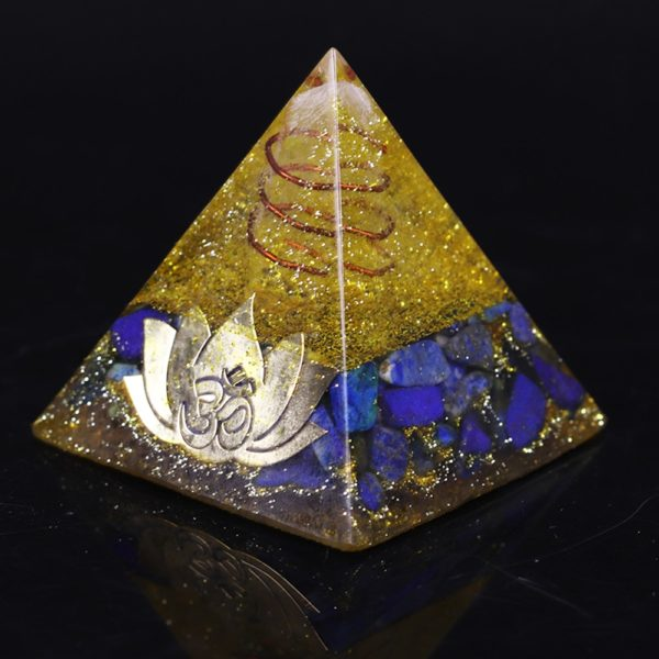 Lapis Lazuli And Golden Resin Orgone Pyramid With Lotus Flower Symbol Front Side View