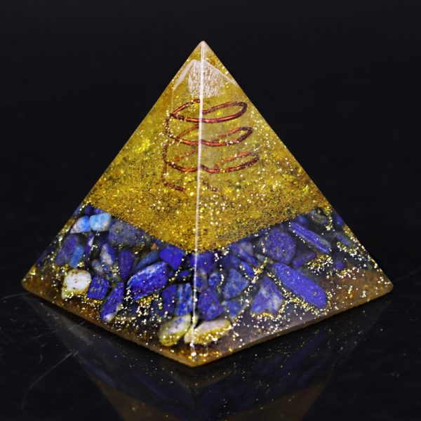 Lapis Lazuli And Golden Resin Orgone Pyramid With Lotus Flower Symbol Rear Angle View