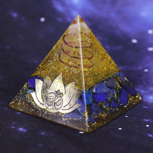 Lapis Lazuli And Golden Resin Orgone Pyramid With Lotus Flower Symbol Side Angle View