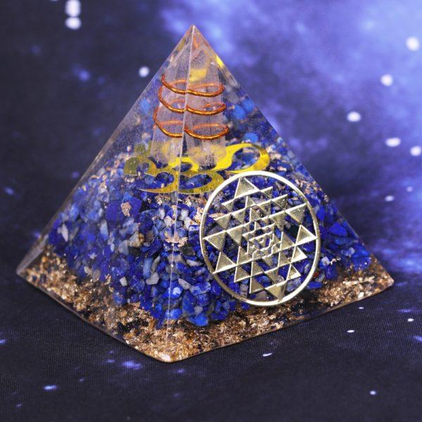 Lapis Lazuli Orgone Pyramid With Copper Coil And Golden Sri Yantra Symbol Angle View
