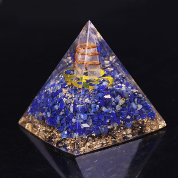 Lapis Lazuli Orgone Pyramid With Copper Coil And Golden Sri Yantra Symbol Back View