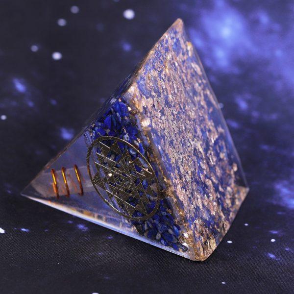 Lapis Lazuli Orgone Pyramid With Copper Coil And Golden Sri Yantra Symbol Bottom View