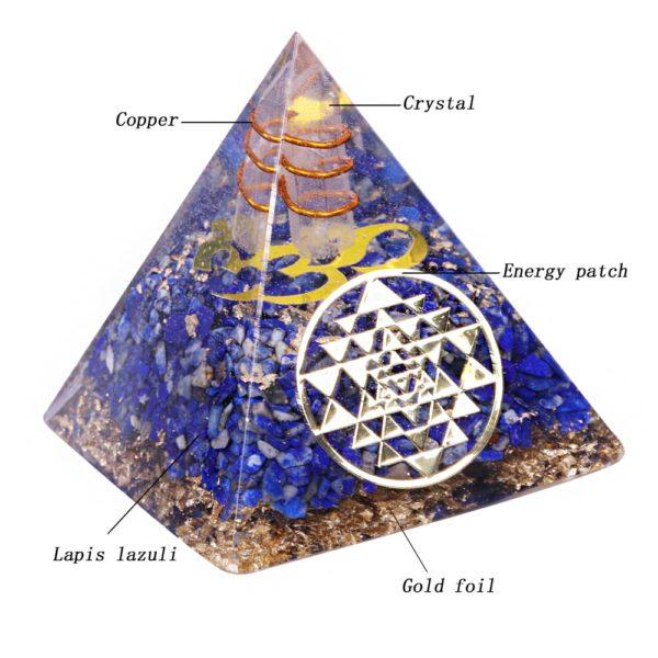 Lapis Lazuli Orgone Pyramid With Copper Coil And Golden Sri Yantra Symbol Contents Diagram