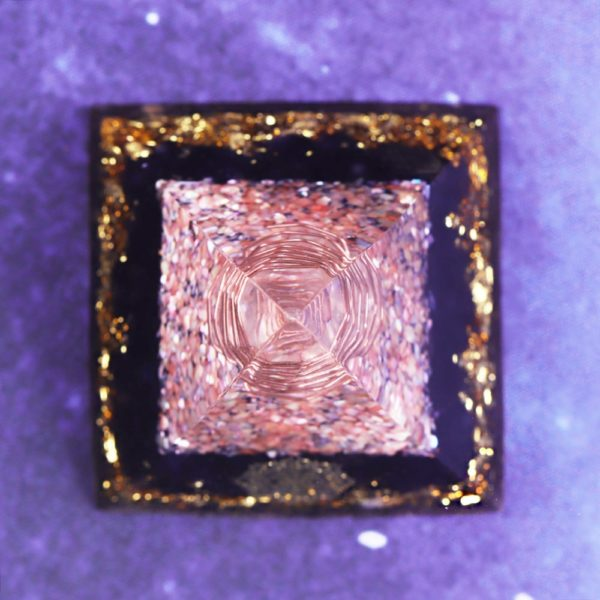 Obsidian Orgone Pyramid With Coral Shell, Copper Coil And Sri Yantra Symbol Top View