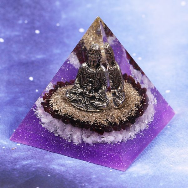 Purple And Garnet Crystal Orgone Pyramid With Copper Buddha And Metal Shavings Angle View
