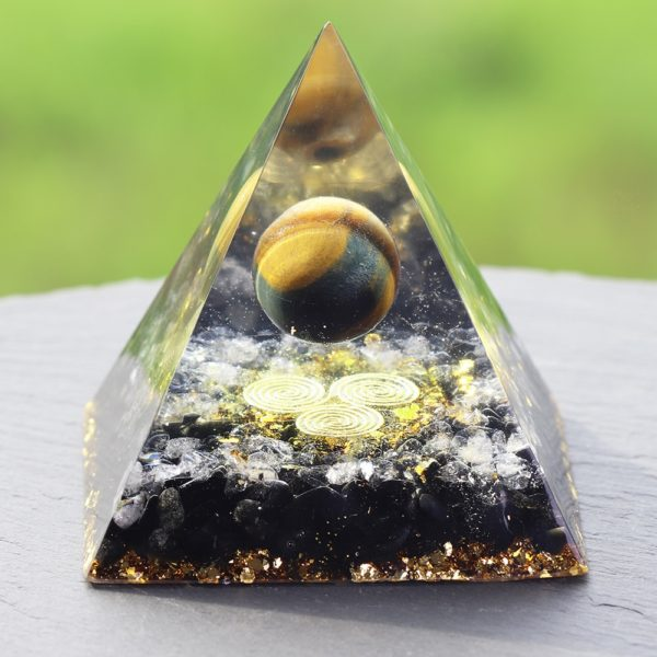 Tigers Eye Orgone Pyramid With Obsidian And White Crystals Side View