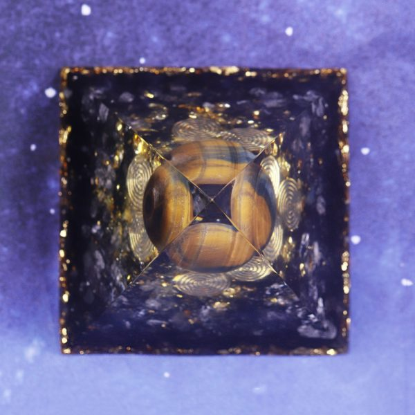 Tigers Eye Orgone Pyramid With Obsidian And White Crystals Top View