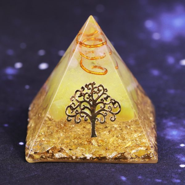Yellow Agate Orgone Pyramid With Copper Coil And Golden Tree Of Life Symbol Main