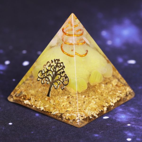 Yellow Agate Orgone Pyramid With Copper Coil And Golden Tree Of Life Symbol Side View